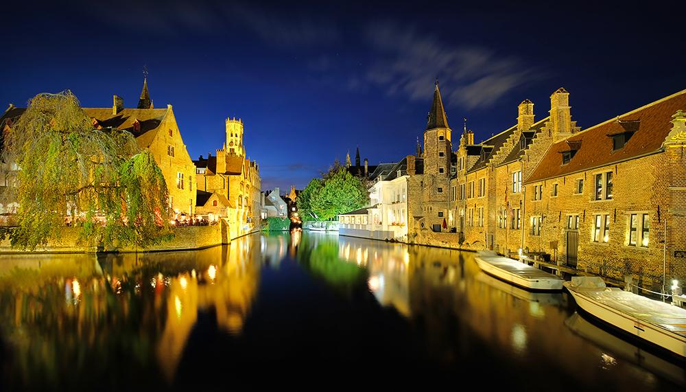 """""""Bruges by Night"""" - Dijver Canal, Bruges, Belgium"""